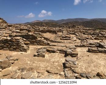 The archeological site of Skarkos in Ios island in Cyclades archipelago, Greece.