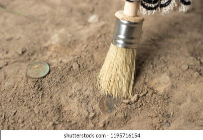 archeology female hand holds brush a tassel excavation of rare materials treasure hunt and archeology find rare  Gold coins in sand