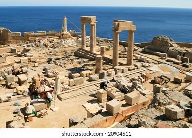 Archeology site in Lindos (Rhodes, Greece)