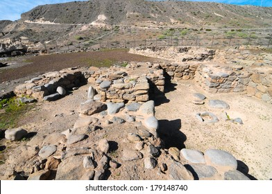 Archeology Site with Round Stones in Canary Islands