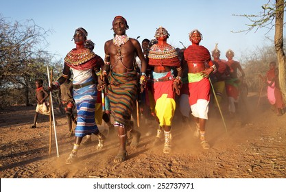 ARCHERS POST - KENYA - JANUARY 14, 2015: Unidentified Samburu dancers attending a wedding ceremony on January 14, 2015 in Archers Post, Kenya.