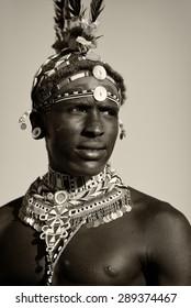 ARCHERS POST - KENYA - JANUARY 14, 2015: Unidentified Samburu warrior attending a wedding ceremony on January 14, 2015 in Archers Post, Kenya.