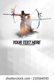 Archery sport invitation advert background with empty space