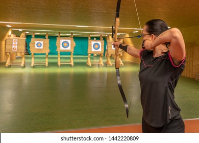archery in the sports hall and in nature. Competition for the best shot an arrow into targets. tournament