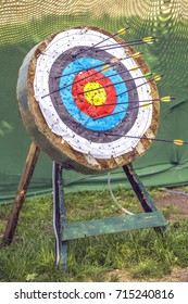 Archery target with arrows outdoor. Abstract concept: hit goals and focus on success. Vintage style.