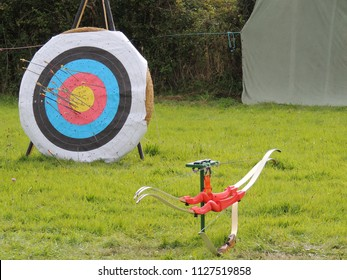 Archery targets in a field with bow and arrows.