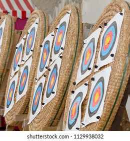 Archery targets in row