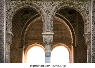 Arches in the Alhambra Palace near Granada, Spain