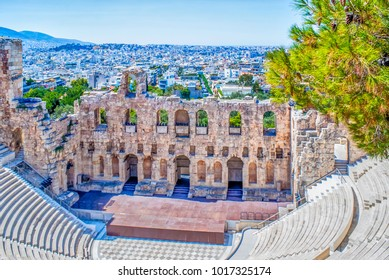 Arches and amphitheatre at the Parthenon in Athens, Greece