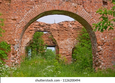 Arches of brick left from the old Church in the North of Russia.