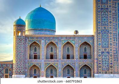 Arches and domme of Tilya Kori madrasah in Registan, Samarkand, Uzbekistan