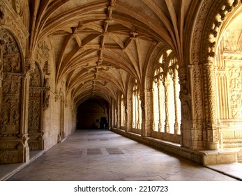 Arches of Jeronimos monastery Belem, Portugal