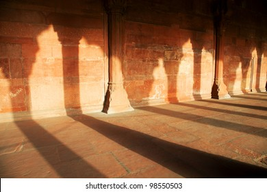 Arches in the Lal Qila - Re d Fort in Delhi, India