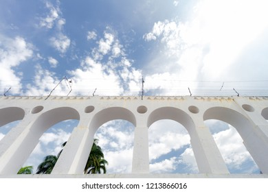 Arches of the Lapa neighborhood in Rio de Janeiro (Brazil) seen from below