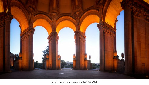 Arches of Magnificent Palace of Fine Art of San Francisco
