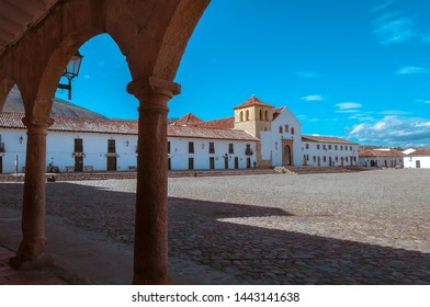 Arches in the main square of Villa de Leyva at the morning