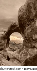 Arches National Park Double O Arch Sepia Utah USA