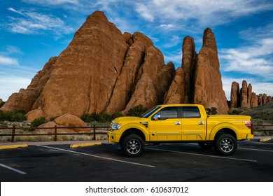 ARCHES NATIONAL PARK, MOAB UTAH. Photo of Ford F150 Tonka Truck was taken March 19th, 2017 in front of Sand Dune Arch.