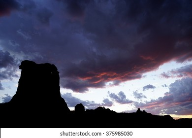 Arches National Park near Courthouse Towersand Courthouse Wash.  An alpenglow sunset.  Moab, Utah is next to both Canyonlands and Arches National Parks as well as Dead Horse Point State Park.