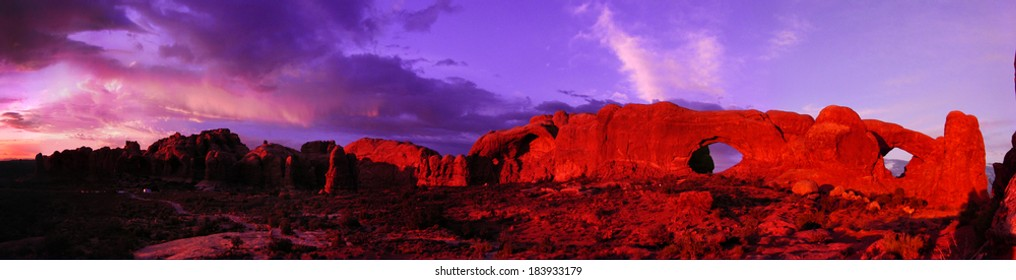 Arches National Park North and South Window Arch Panorama Utah USA
