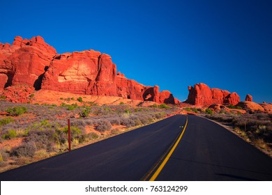 Arches National Park. Red rocks and mountains, Desert valley. Moab, Utah, USA.