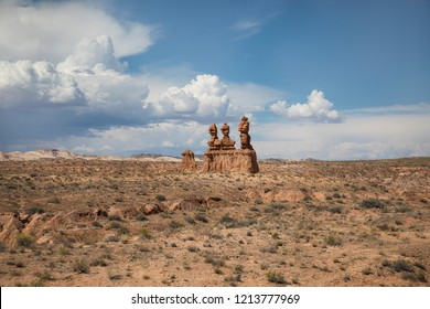 Arches National Park. Red stone walls. Red mountaines. Hiking trails
