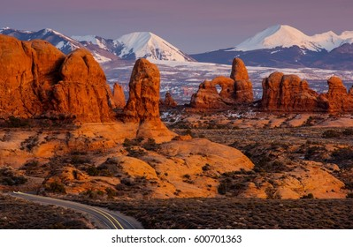 Arches National Park in Utah at Sunset