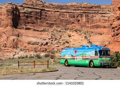 ARCHES NATIONAL PARK, UTAH, USA - JUNE 3, 2015: Google Code the Road bus touring the USA for road mapping, parked in the Arches National Park, Utah, USA.