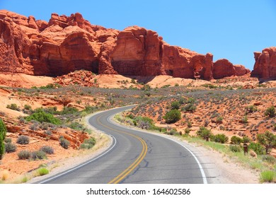 Arches National Park in Utah, USA. Famous Arches scenic drive road.