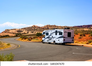 Arches National Park, Utah-USA, August 13, 2019 : RV parked in Arches National Park under beautiful sunny day.