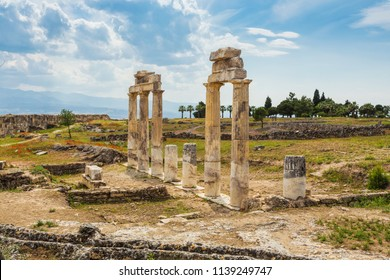 Arches in Pamukkale near the reservoirs and terraces with geothermal springs