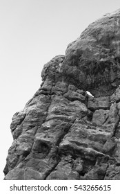 Arches Rock Formation with Cloudy Skies in Black and White