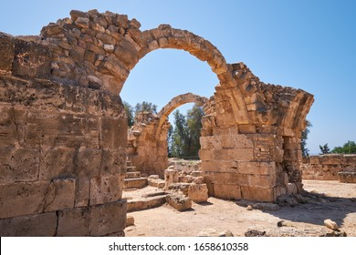 The arches of  Saranta Kolones castle – the medieval fortress built on the site of an earlier Byzantine fort. Paphos Archaeological Park. Cyprus