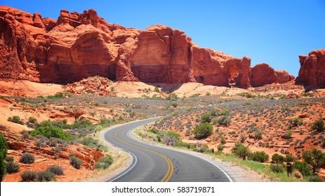 Arches scenic drive road in Utah.