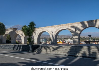 The Arches of Yanahuara Plaza and Misti Volcano on Background - written on the arches are quotes of famous people of the city - Arequipa, Peru