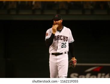 Archie Bradley pitcher for the Arizona Diamondbacks at Chase Field in Phoenix Arizona USA August 21,2018.