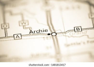 Archie. Missouri. USA on a geography map