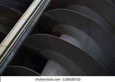 An Archimedes screw for moving large amounts of water at Kinderdijk in holland