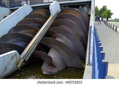 Archimedes screw for moving large quantities of water at Kinderdijk in the Netherlands