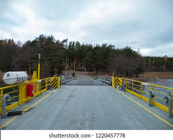 Archipelago / Finland - 10 20 2018: Traveling in the Finnish Archipelago on a ferry. Drive ramp and pier.