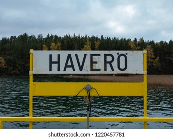 "Archipelago / Finland - 10 20 2018: Traveling in the Finnish Archipelago on a ferry to island called ""HAVEROE"""