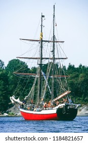 "Archipelagos, Sweden - August 2 1999: Brigantine ""Falado von Rhodos"" anchoring at an archipelago of the Swedish Coast. The ship foundered off the Iceland Coast in August 2013."