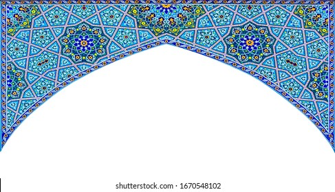 Arch.Islamic architectural patterns  colored. Arabic architectural background.