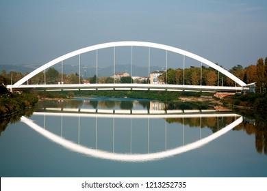 archistar Meier white bridge on the Tanaro