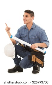 architect with blueprints pointing  on a white background