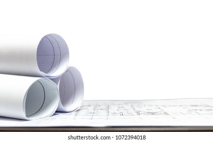 architect design building is placed on the table white background