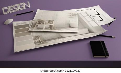 Arquiteto images stock photos vectors shutterstock architect designer concept table close up with interior renovation draft bathroom interior design blueprint malvernweather Gallery