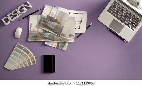 Arquiteto images stock photos vectors shutterstock architect designer concept violet work desk with computer paper draft bedroom project images malvernweather Gallery