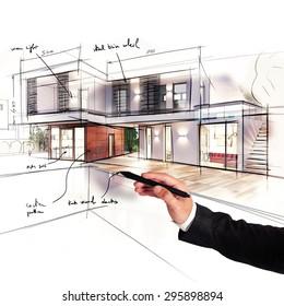Architect designs the project of a villa