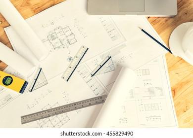 architect desk ,engineering concept, architecture concept, soft focus, vintage tone